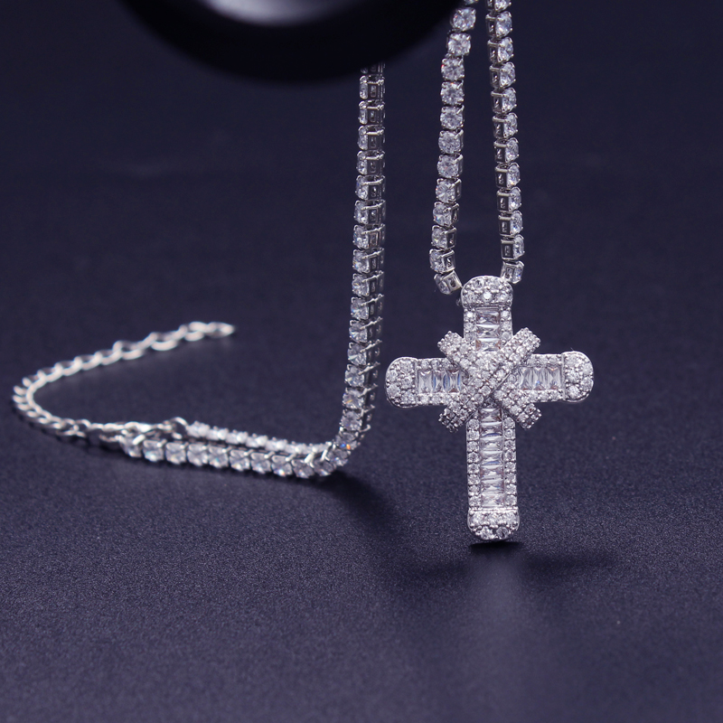 Luxury Cubic Zirconia Cross Necklace With Tennis Necklace For Women Wedding Dainty Chain Strong & High Quality 33cm 40cm 50cm