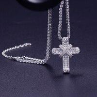 Роскошное ожерелье с крестом из Кубического циркония с теннисным ожерельем для женщин, свадебная Изысканная цепочка, крепкая и высококачес...