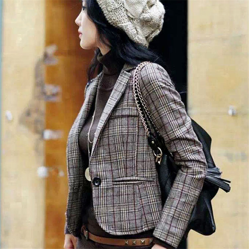 Korean fashion lattice spring short jacket 2018 new Slim was thin small suit jacket womens jacket tide Fashion Women ...
