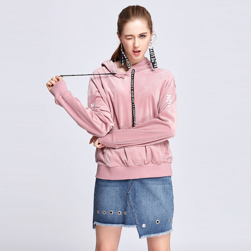 OUCAG 2017 Autumn Winter Solid Women Hoodie O Neck Casual Design Long Sleeve Hooded Pullover Sweatshirts Female