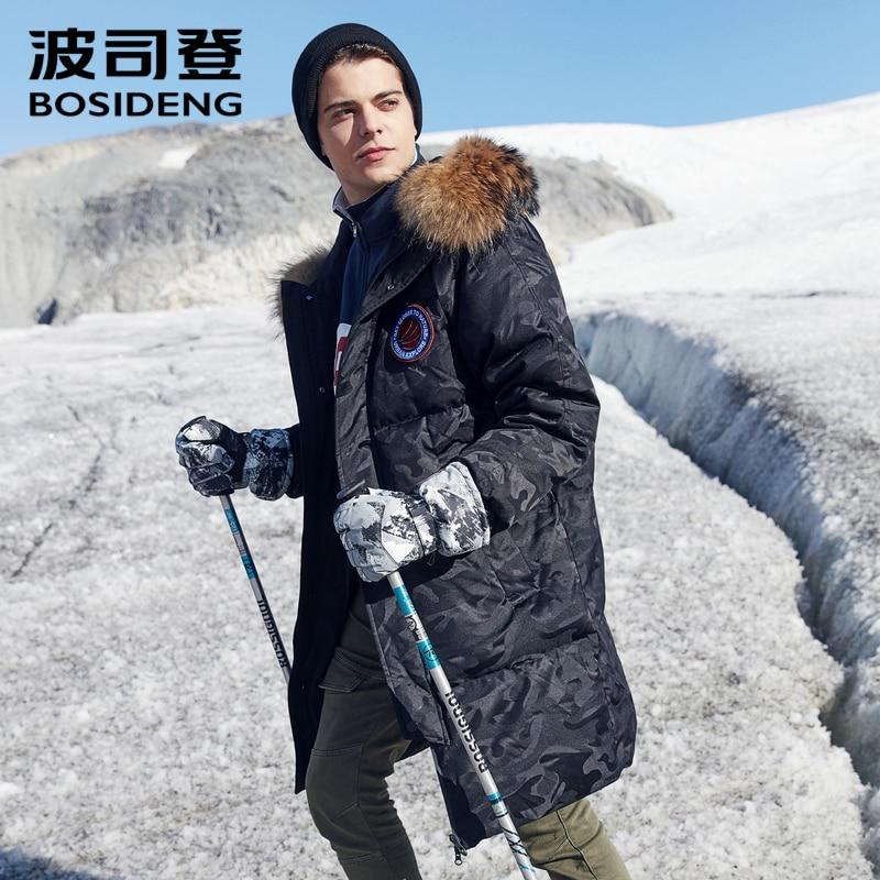 Image 3 - BOSIDENG ホワイトグースダウンコート男性ロングダウンジャケット厚みの生き抜くリアルファー雪の日防水暖かい B80142153ダウンジャケット   -