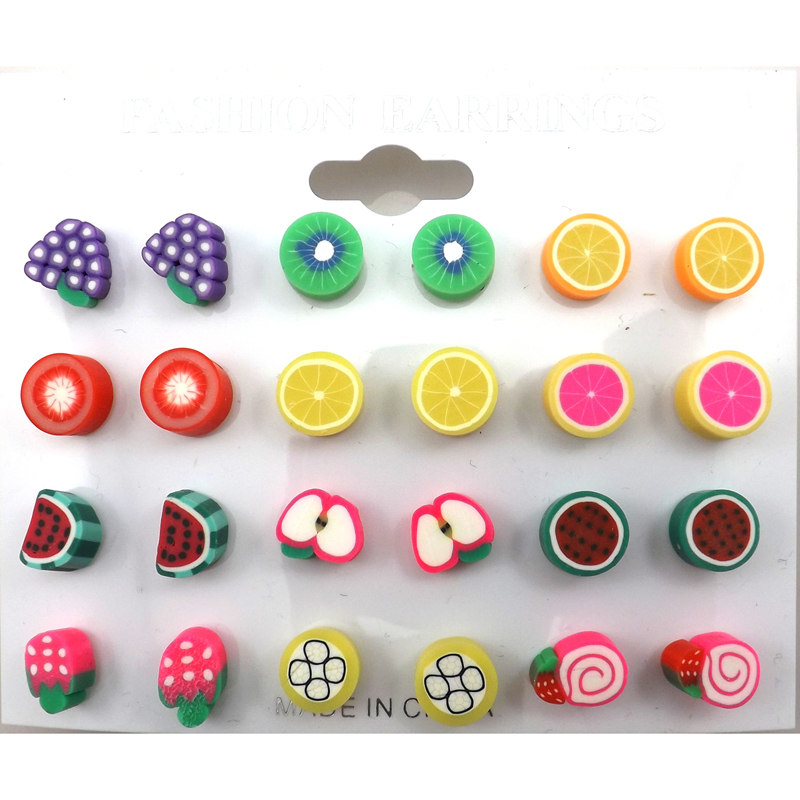 Wholesale 100 Pairs/Lot 10mm Fruit Shape Polymer Clay Earring Studs Cut Gift
