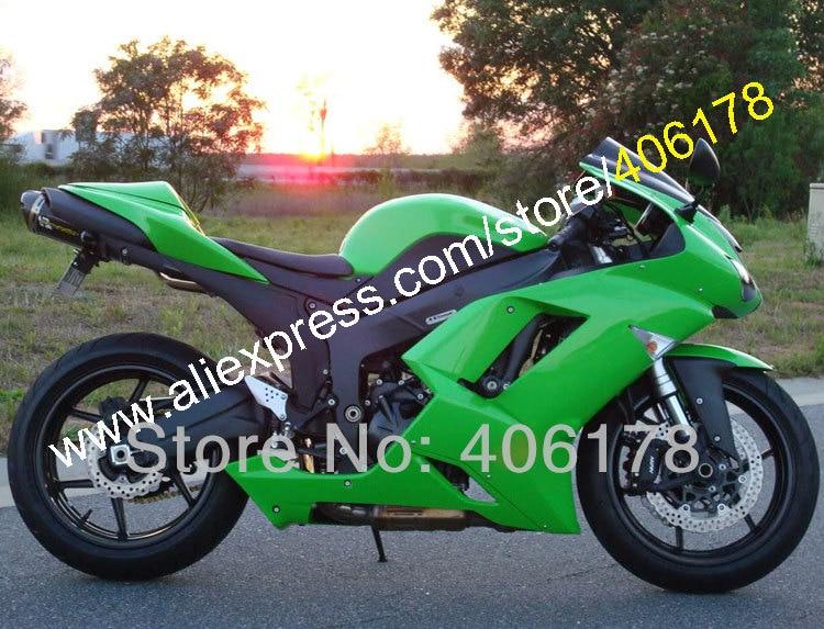 Горячие продаж,обтекатель комплект для Kawasaki ниндзя zx6r ZX в-6р 636 07 08 ZX в 6р на ZX-6 2007 2008 зеленый зализа комплект (литья под давлением)