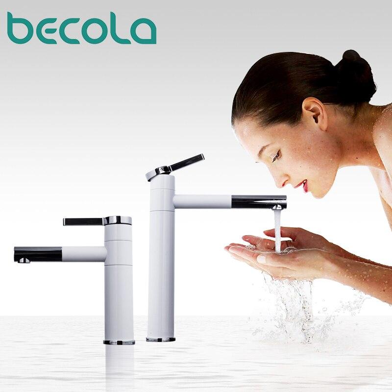 Mitigeur de lavabo 360 degrés rotation Type robinet de lavabo blanc et argent chrome finition robinets de salle de bain simple main salle de bain LT-701