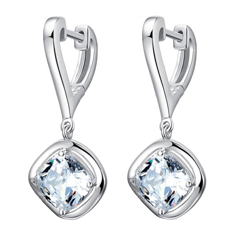100% 925 sterling silver fashion shiny crystal ladies stud earrings jewelry female women birthday gift Anti allergy