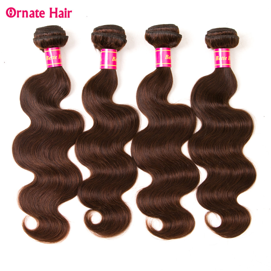 Ornate Brazilian Bodywave 4 Bundels Light Brown Human Hair Extension 8 28 Inch Weave Non Remy