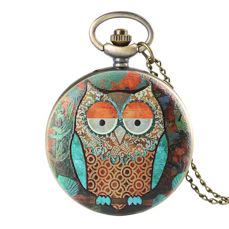 Unique Colorful Artistic Owl Quartz Pocket Watches Women Fob Watch Men Analog Clock Necklace Pendant Gifts For Kids Boys Girls