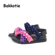 Bakkotie 2017 New Fashion Summer Baby Sandal Bohemia Style Kid Brand Toddler Girl Shoe Comfort Children Pink Rainbow Wave Blue