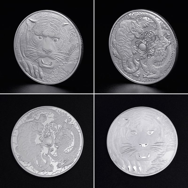 Commemorative Coin Fight Of Tiger Dragon Animals Collection Art Crafts Souvenir Gifts Collectible Coins