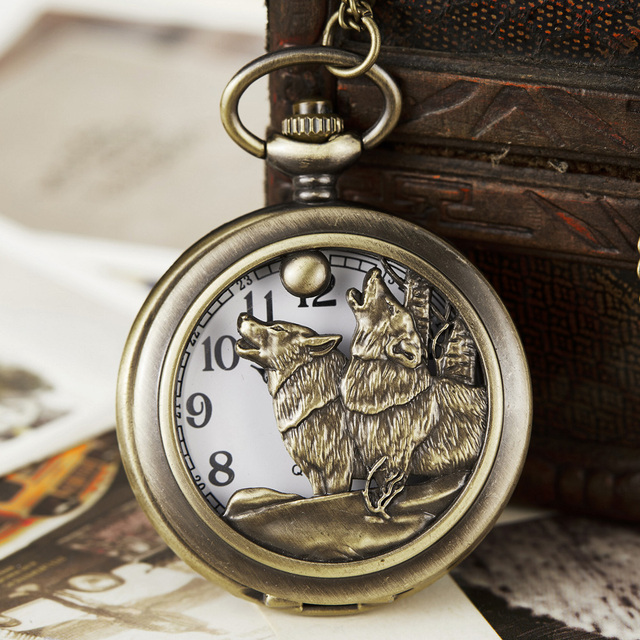 Bronze Hollow Wolf Hound Dog Bronze Copper Retro Women Men Quartz Pocket Watch P