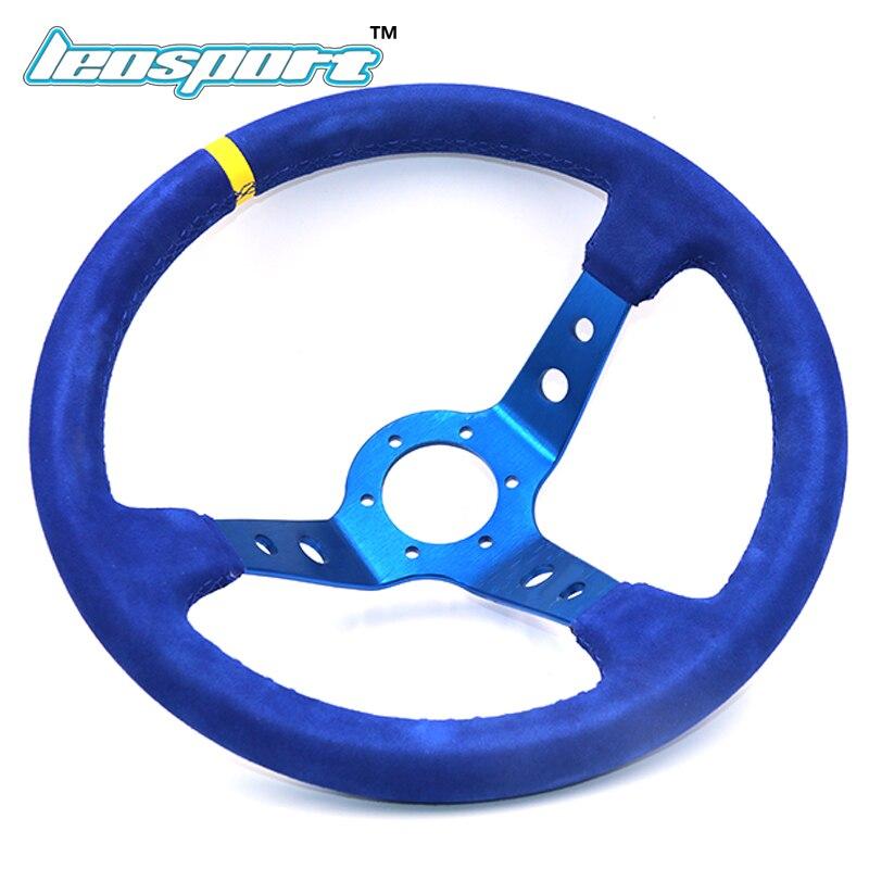 14 (350mm) For omp Racing Steering Wheel suede Leather full blue iron frame Steering Wheel Game Racing Steering Wheel