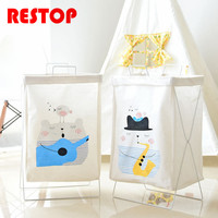 RESTOP Folding Iron Frame Canvas Laundry Basket Washing Laundry Bag Hamper Storage Dirty Clothing Bags Toy Storage Bag RES1052