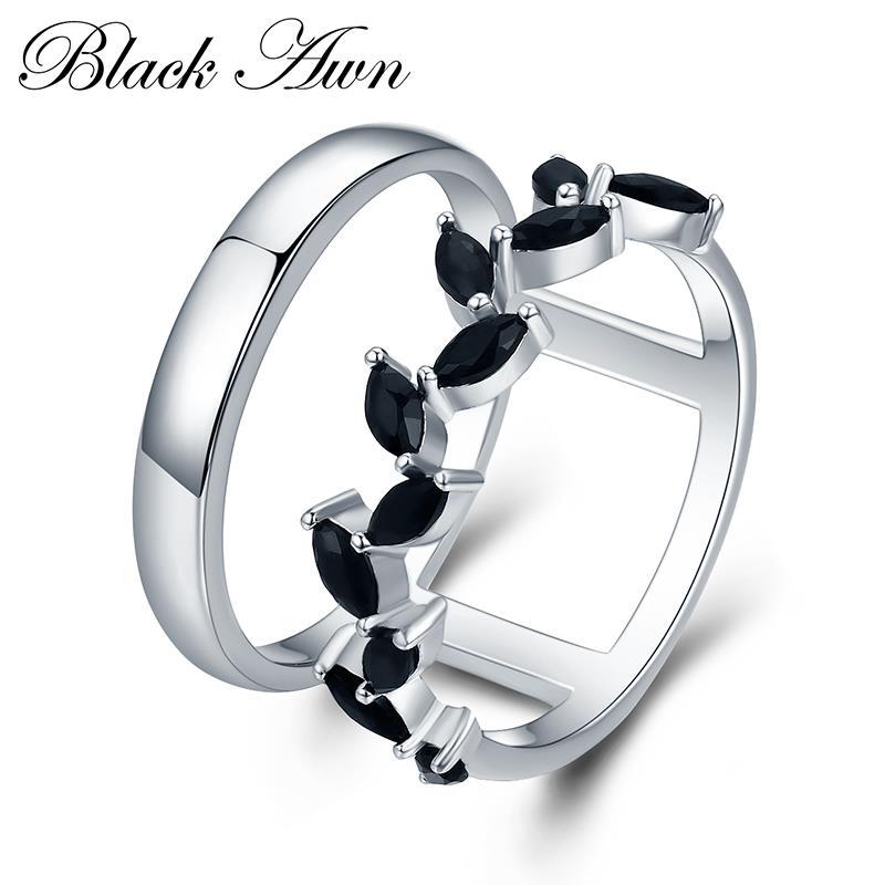 Hyperbole 3.7g 925 Sterling Silver Fine Jewelry Trendy Engagement Bague Black Spinel Leaf Women's Wedding Ring Bijoux Femme G001