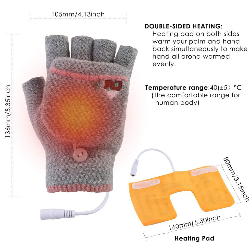 1 Pair 5V USB Winter Warm Electric Heater For Gloves Heated Pads Heated MatMAEK