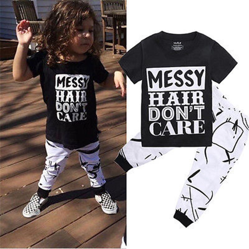 Toddler Kids Baby Girls Boys Black Short Sleeve Outfit Clothes T