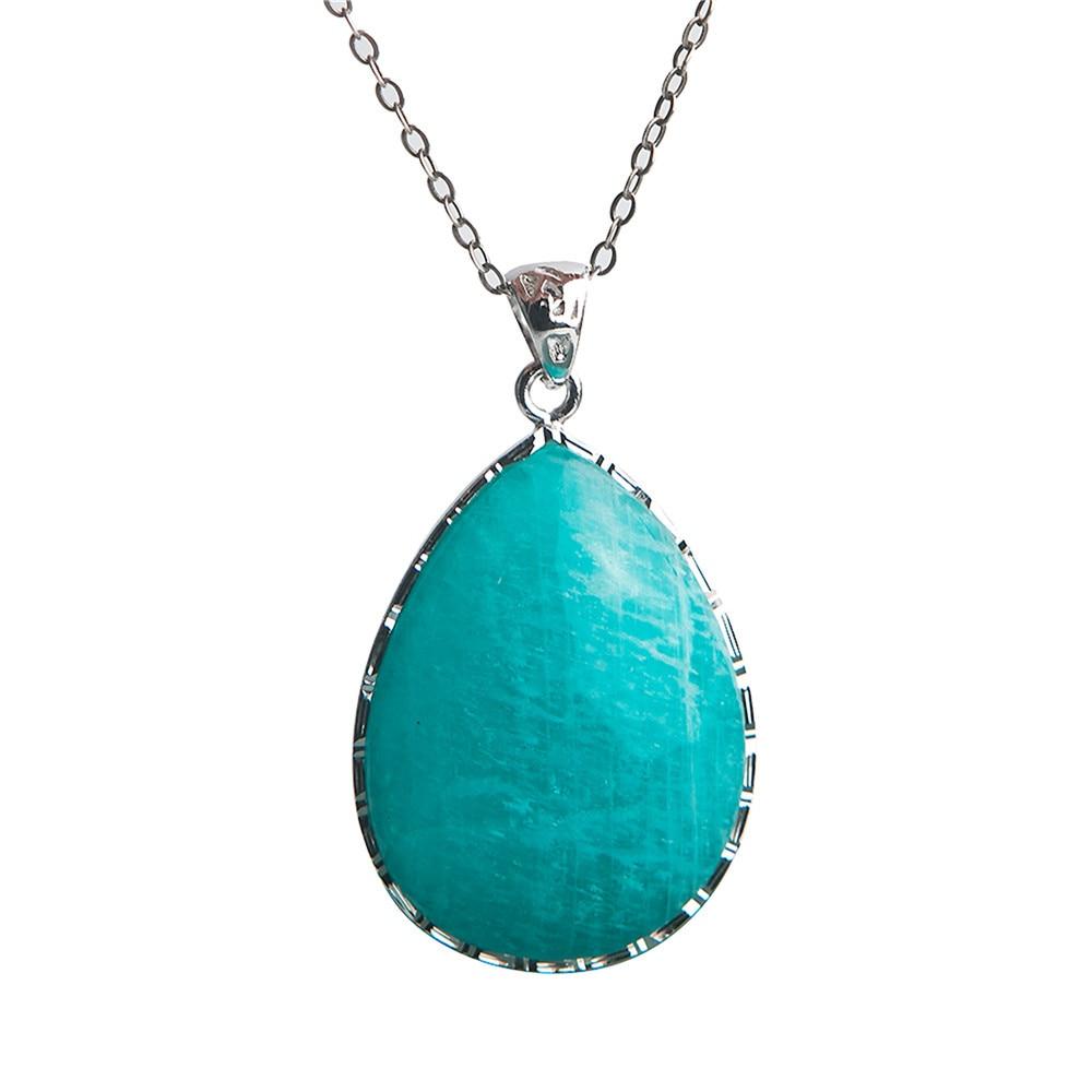 Véritable collier de bijoux naturel Amazonite cristal gemmes perle 925 pendentif en argent Sterling trouver des bijoux