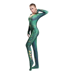 Image 3 - 新しい女性子供映画アクアマンメラ女王コスプレコスチューム全身タイツスーツスーツジャンプスーツとかつらライクラスパンデックス全身タイツの衣装2019