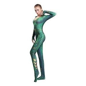 Image 3 - Nouveau femmes enfant film Aquaman Mera reine Cosplay Costume Zentai body combinaison et perruques Lycra Spandex Zentai costume 2019