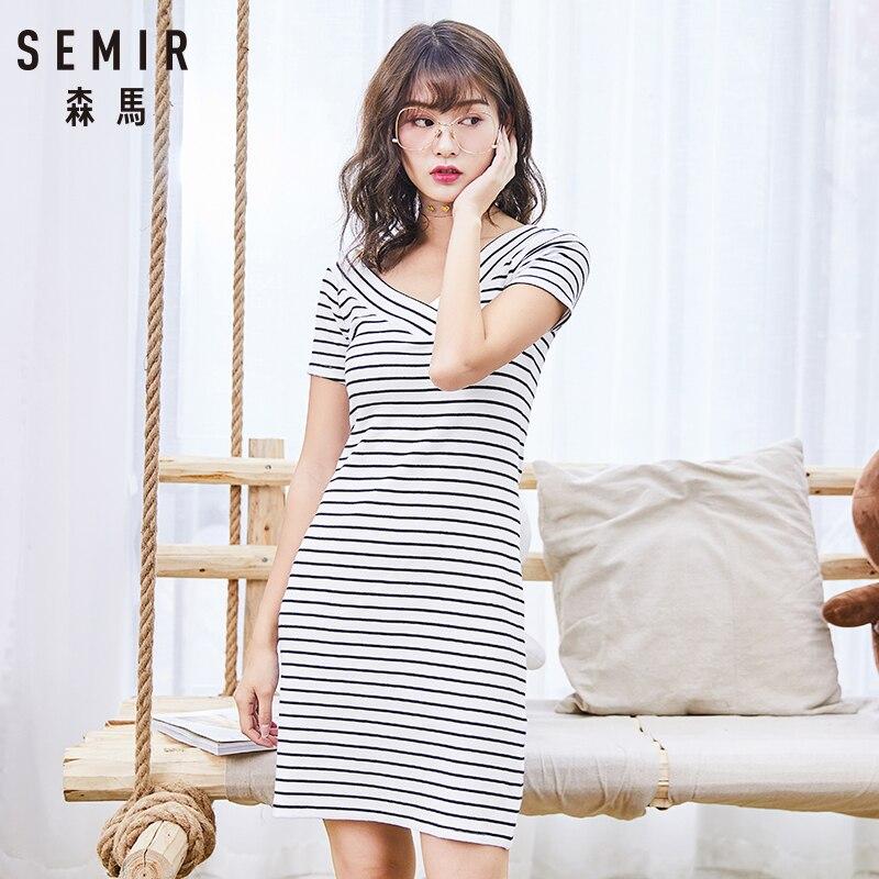 Semir Dress Female Summer 2018 New Striped Short Dress Women Slim Thin V-neck Lady Dresses Short-sleeve Fashion Women Clothing