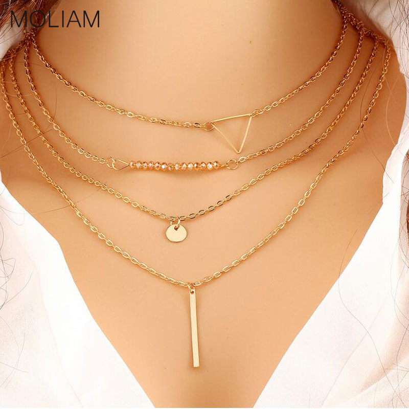 MOLIAM New Fashion Multi Layers Pendant Necklace for Women Simple Design Triangle Collier Clavicle Jewellery Hot Sale W017