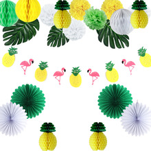 19pcs Pineapple Party Decoration Set Flamingo Garland Palm Leaf Honeycomb Tropical Birthday Hawaiian