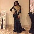 Africano Sexy de Alta Do Pescoço Da Menina Preto Sereia Vestidos de Baile 2017 trem da varredura apliques de ouro lace manga comprida prom dress partido vestido