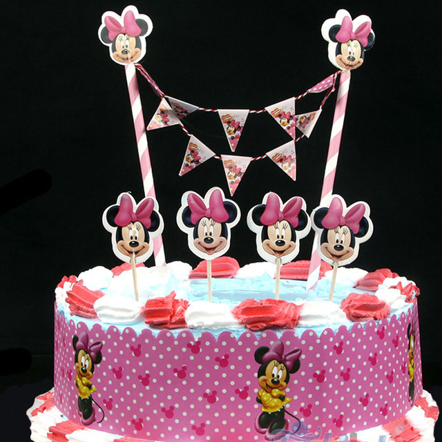 New Arrival Cute Pink Minnie Mouse Design Cartoon Paper Cake Wrapper Flag Topper For Birthday Party Decoration Supplies