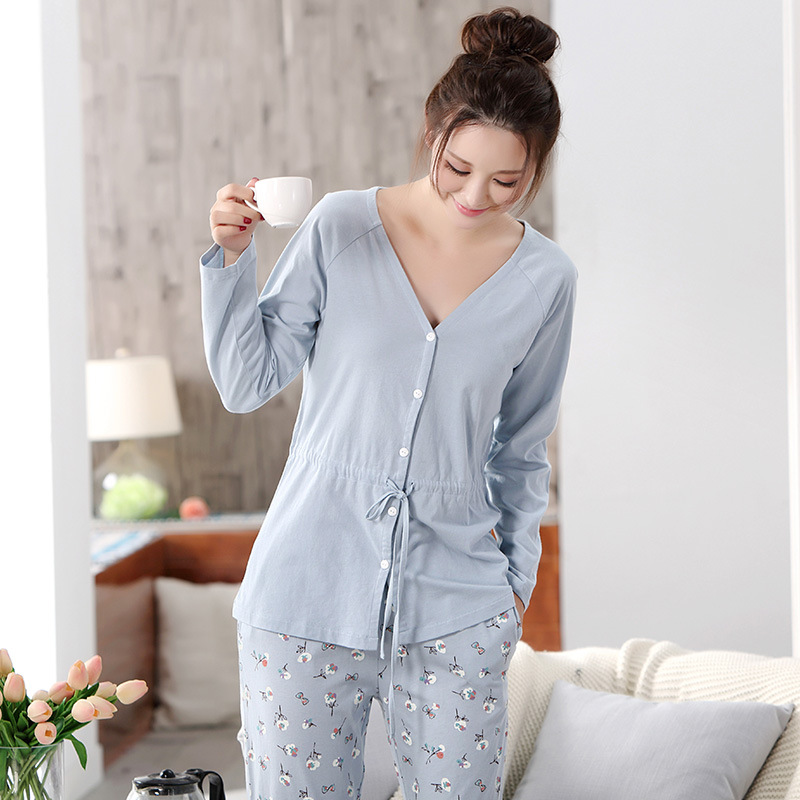 100% Cotton maternity clothes Sleepwear women Pregnant Pajamas Nursing Tops+Pants  Breast Feeding Nightgown for Pregnant Women-in Sleep   Lounge from Mother  ... b65116a0c