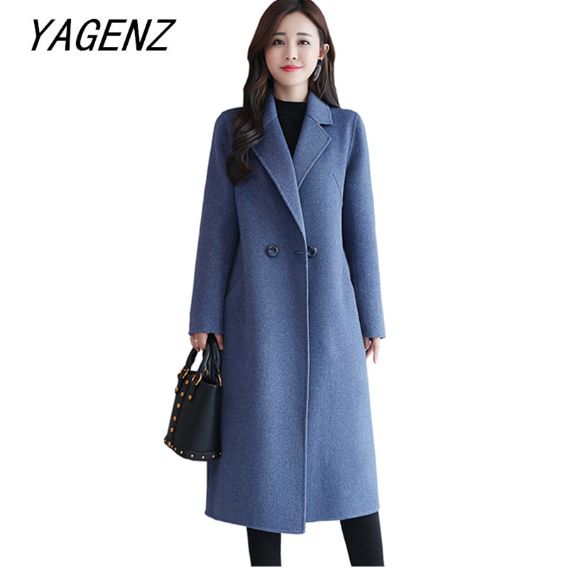 2019 Winter New Double sided cashmere Coat Women Elegant Slim long Jacket plus size High end Brand Ladies 100% Wool Jacket 3XL