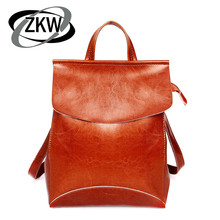 ZKW Fashion Brief Women's Bag Backpack Preppy Style Genuine Leather Women's Portable Wax Cowhide Travel Backpack