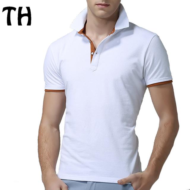 Slim fit classic polo camisa de los hombres mezclas de algodón de manga corta de verano más tamaño polos hombre # 160559a