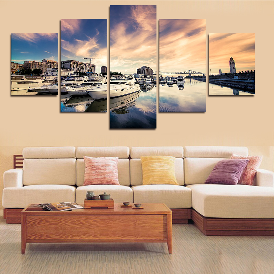 New 5 pieces sea and ship big size wall art home decor for Modern home decor pieces