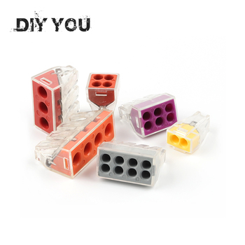 цена 30/50/100PC DIY YOU PCT-102/103D/104D/104/106/108 Universal Compact Wire Wiring Connector Conductor Terminal Block With Lever онлайн в 2017 году