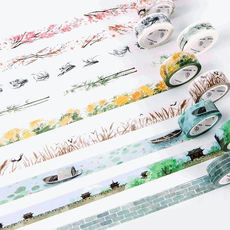 Cute Flower Adhesive Washi Tape Kawaii DIY Decorative Masking Tape For Scrapbooking Photo Album Free Shipping 3646 diy kawaii dot stripe masking washi tape cute grid adhesive decorative tape for photo album diary free shipping 3643