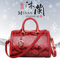 Squirrel fashion Chinese national style embossed PU floral youth women handbags casual classic hot red crossbody messenger bag