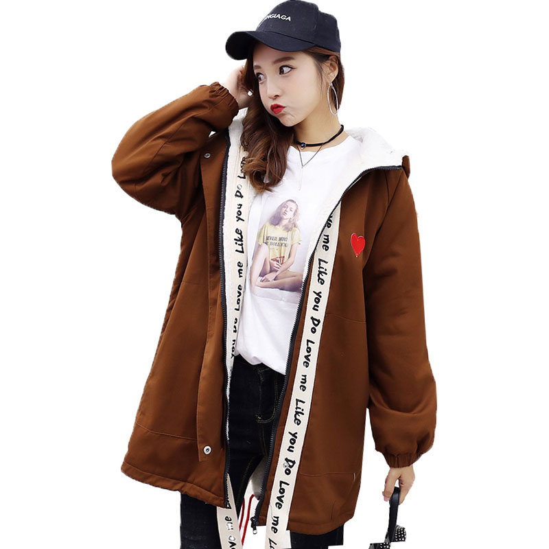 Winter Lamb Cotton Jackets Long Cute Ribbon Hooded Coats Padded