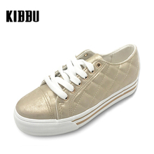 KIBBU 2017 Women Gold Flats Shoes Brown Plaid Breathable Ladies Leather Summer Spring Creepers Casual Slip on