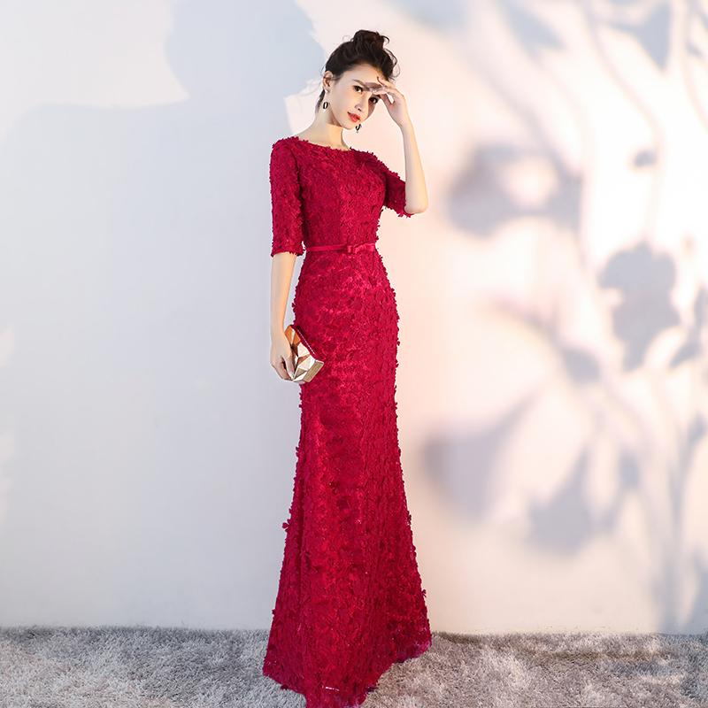 Burgundy Flowers Lace Half Sleeves Mermaid   Evening     Dresses   Muslim Fashion Elegant Tulle   Evening   Gowns LF342