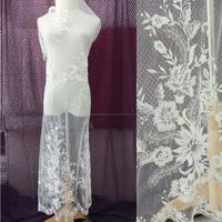 Ivory Floral Embroidery Lace Fabric Polyester Mesh Beading Wedding Dress Lace Fabric Material 2017 New Design