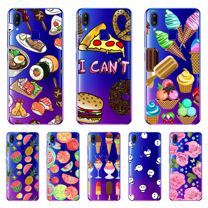 For vivo Y95 Y91 Case,Silicon Black Painting flower Soft TPU Back Cover for For vivo Y95 Y91 protect Phone cases shell