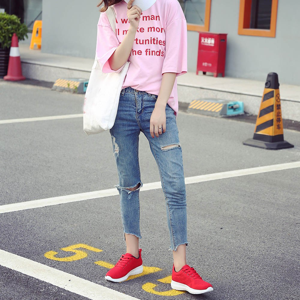 Style Mesh Noir Mode Top Courir Chaussures rouge De Femme rose Air Femmes Respirant gris Voyage Plein Plat Baskets Sport Solide Haute qZ1Tt