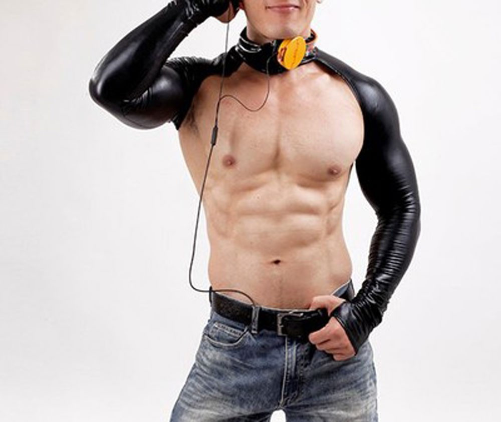 Men Sexy Tops Black Vest Faux Leather Long Sleeves Exotic Apparel Fashion Cosplay Costume