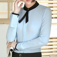 Women Slim Work Shirts Long Sleeve Stand Collar Bow Tie Blouses Elegant Ladies Blusas Tops Fashion