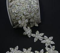 Freeship 1 yard/lot costum finiture artigianali fiore d'argento top a catena di cristallo del rhinestone dei capelli vestito collare indumento di cucito applique