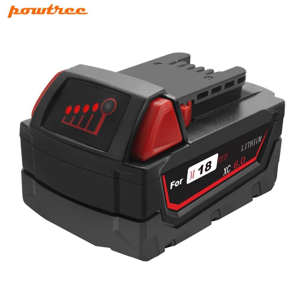 Powtree 6.0Ah 108Wh Li-ion Batterie pour Outil Milwaukee M18 48-11-1815 48-11-1850 Remplacement M18 Batterie 2646-20 2642-21 L10