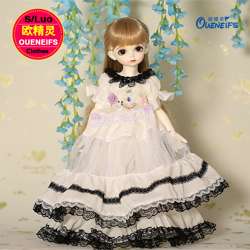 OUENEIFS free shipping,Spliced chiffon dress with black and white collocation, 1/4 bjd sd doll clothes,no doll or wig YF4 to 102