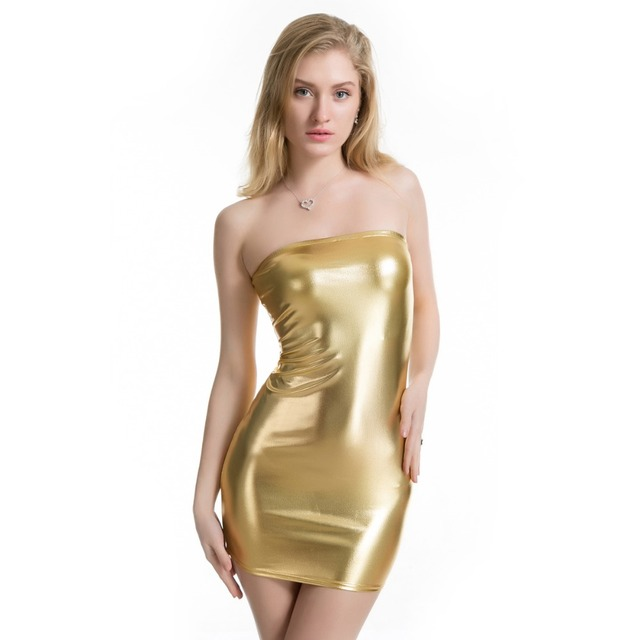 Women Sexy Off Shoulder Strapless Shiny Metallic Mini Dress Bodycon Clubwear Gothic Wetlook Stripper Tube Bandeau Dress 1