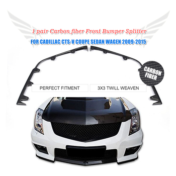 2PC/Set Front Bumper Splitters Flap Cupwings Apron Lip Carbon Fiber For Cadillac CTS-V Coupe Sedan 2009-2015 image