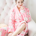 Women Nightwear Robes Long Flannel Night-robe Sleepwear Spa Shawl Collar Winter Warm Bathrobe