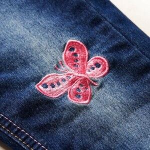 Image 4 - Moda kot kızlar için sonbahar çocuk kış tayt kot bebek pantolon artı kadife Denim pantolon elastik kızlar kot kostüm